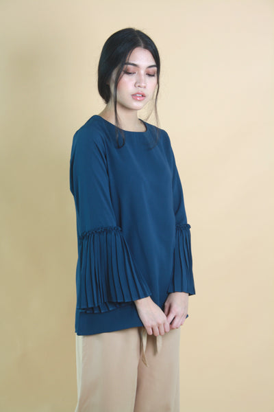 Pleated Sleeved Crepe Top Navy Blue