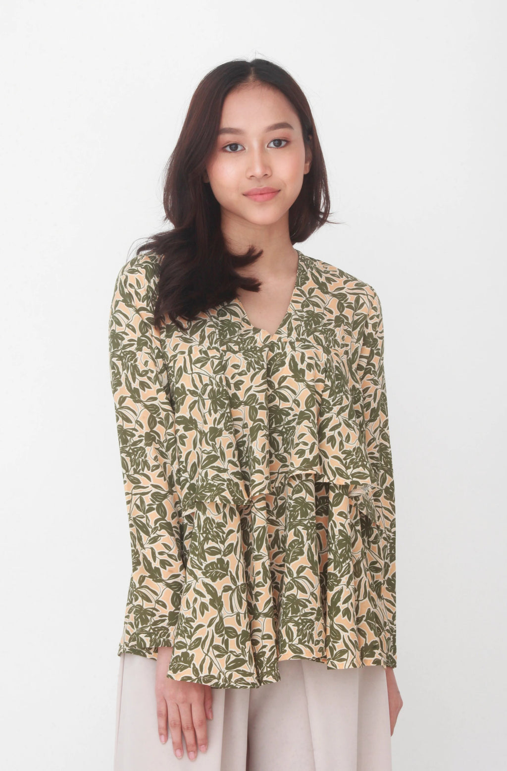 Meg Printed Layer Top Green