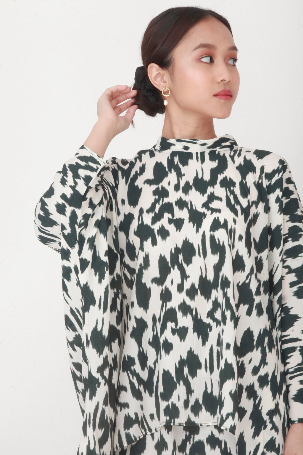 Imelda Printed Oversized Top Green