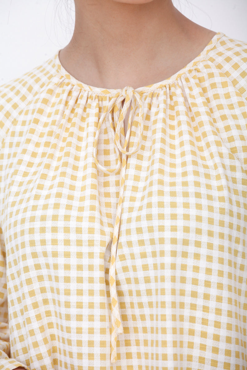 Lana Checkered Ribbon Top Yellow