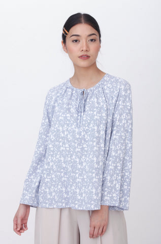 Dalila Plain Ribbon Sleeve Kurung Grey