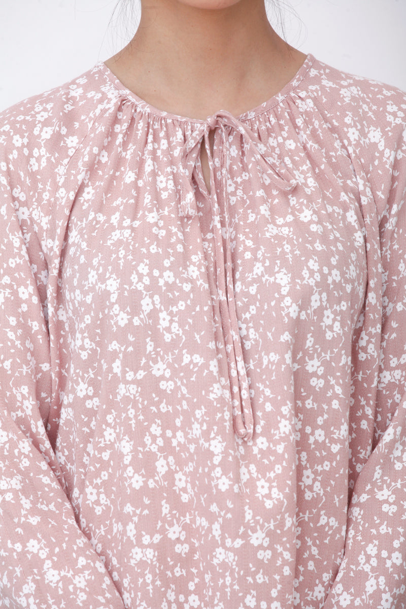 Lucy Floral Top Dusty Pink