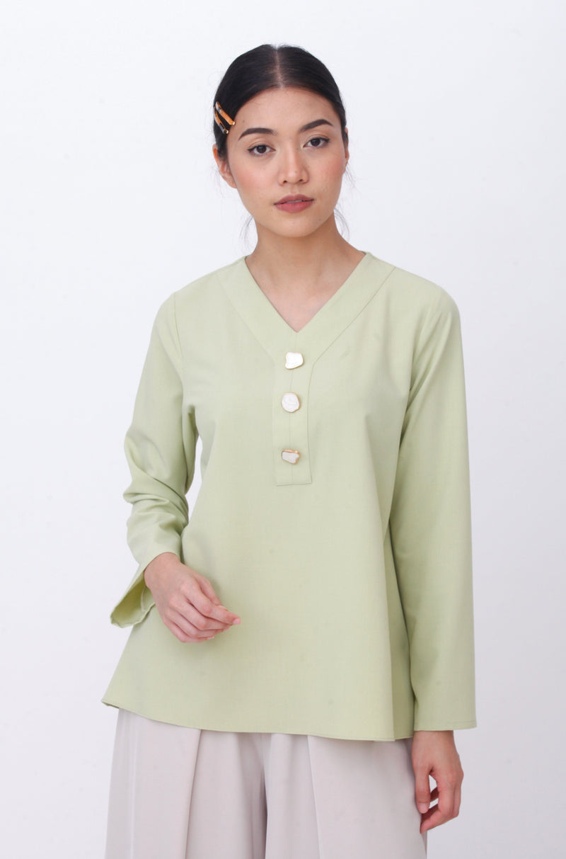 Maisie Marble Button Top Green