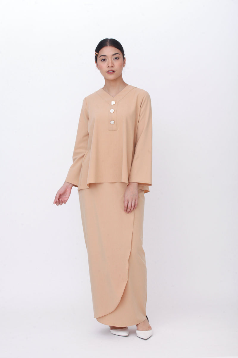 Maisie Marble Button Kurung Brown