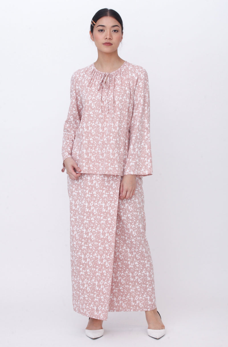 Lucy Floral Kurung Dusty Pink