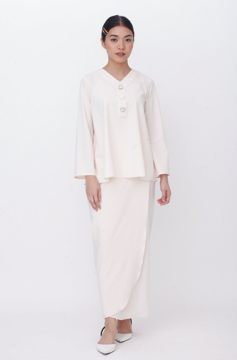 Maisie Marble Button Kurung Cream