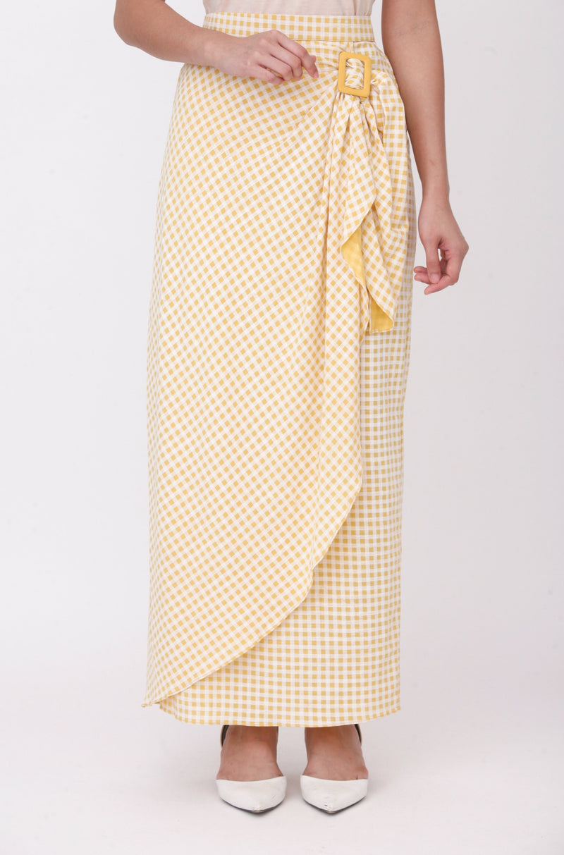Nayla Checkered Buckle Skirt Yellow