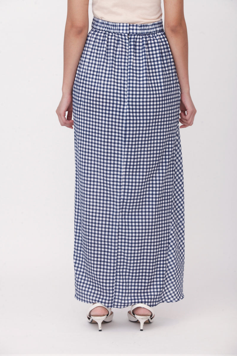 Nayla Checkered Buckle Skirt Navy Blue