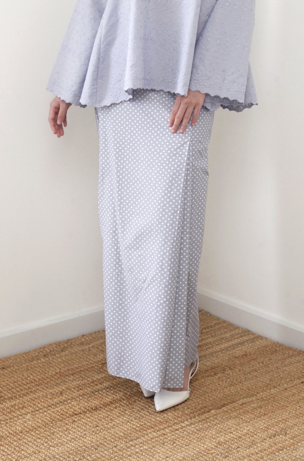 Imelda Polka Cotton Skirt Grey