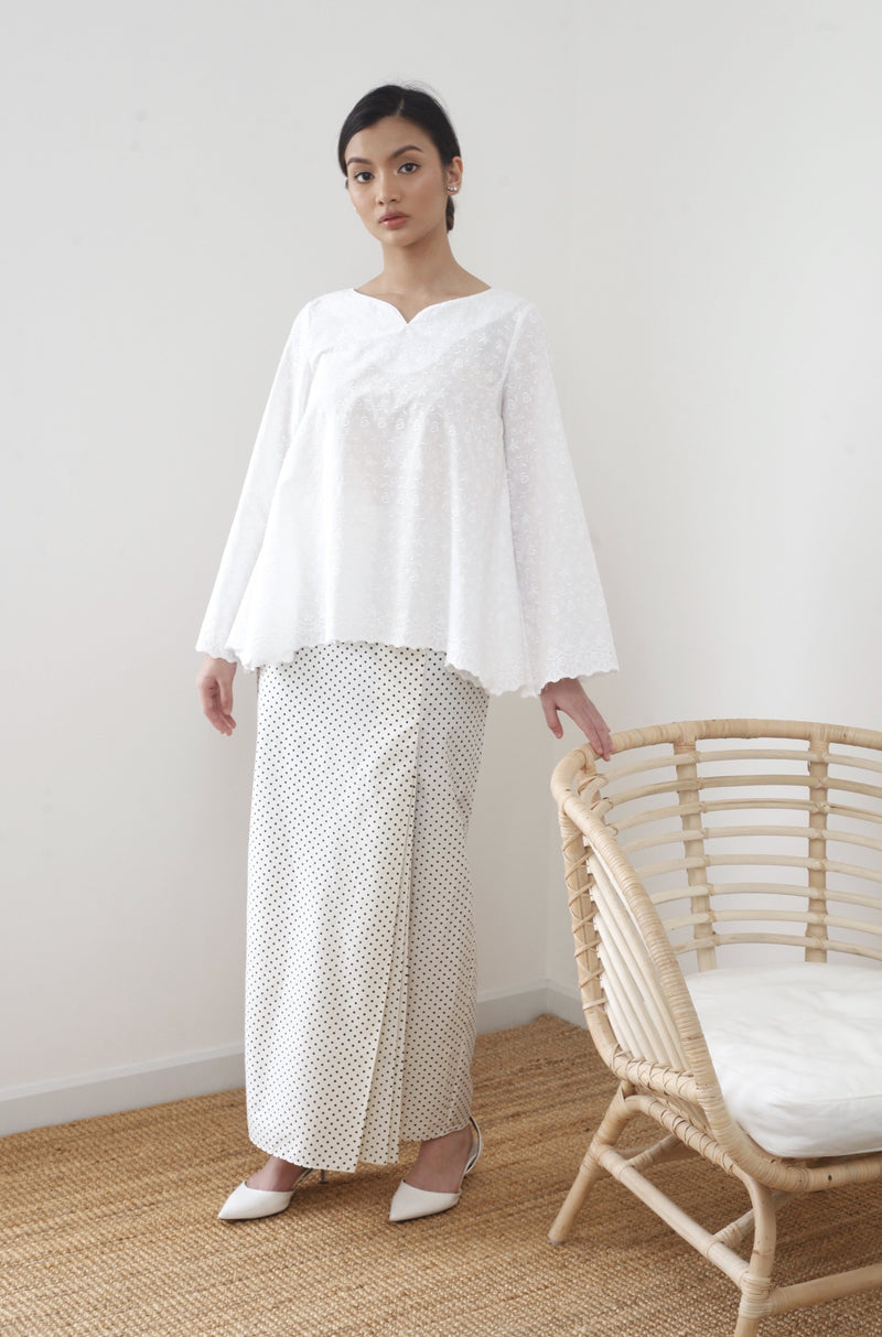 Cempaka Embroidered Top White