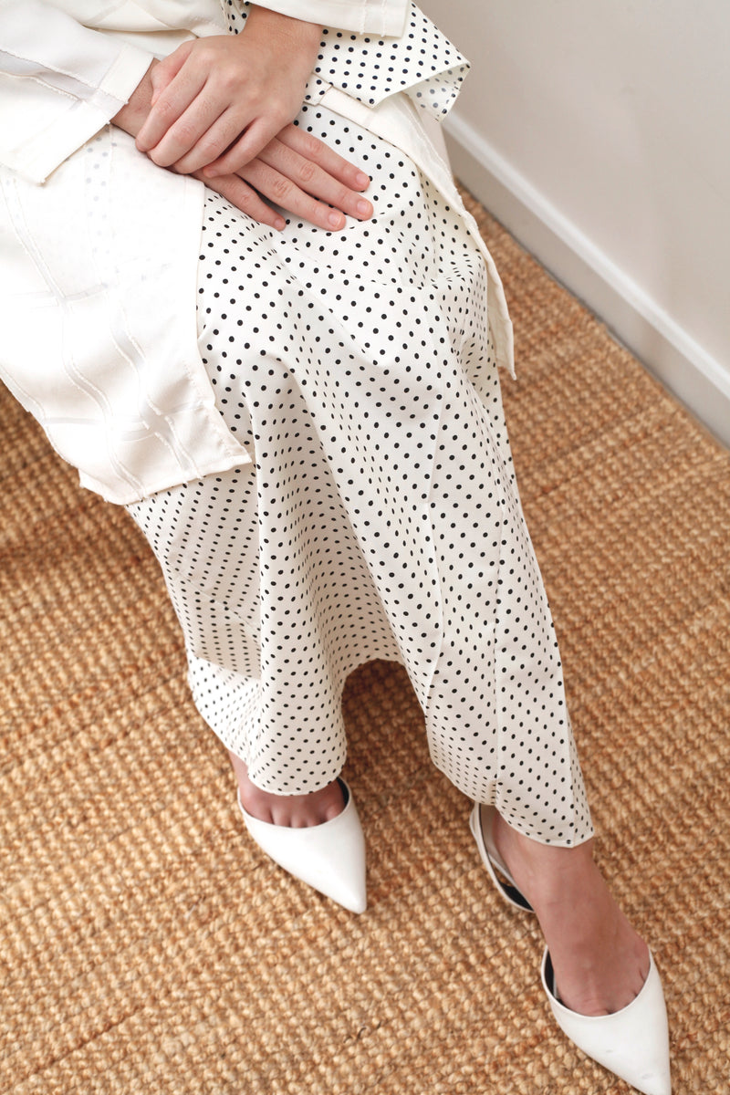 Imelda Polka Cotton Skirt Cream