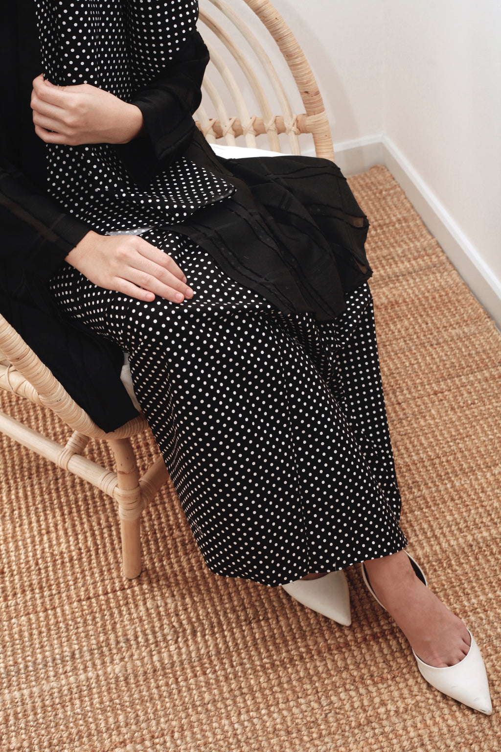 Imelda Polka Cotton Skirt Black