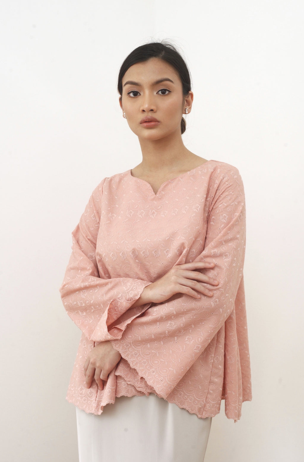 Cempaka Embroidered Top Nude Pink