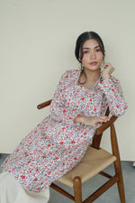 Kameela Floral Cotton Kebaya Top Red