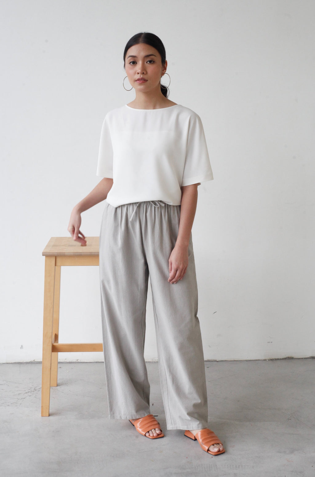 Wide Legged Cotton Pants Light Grey