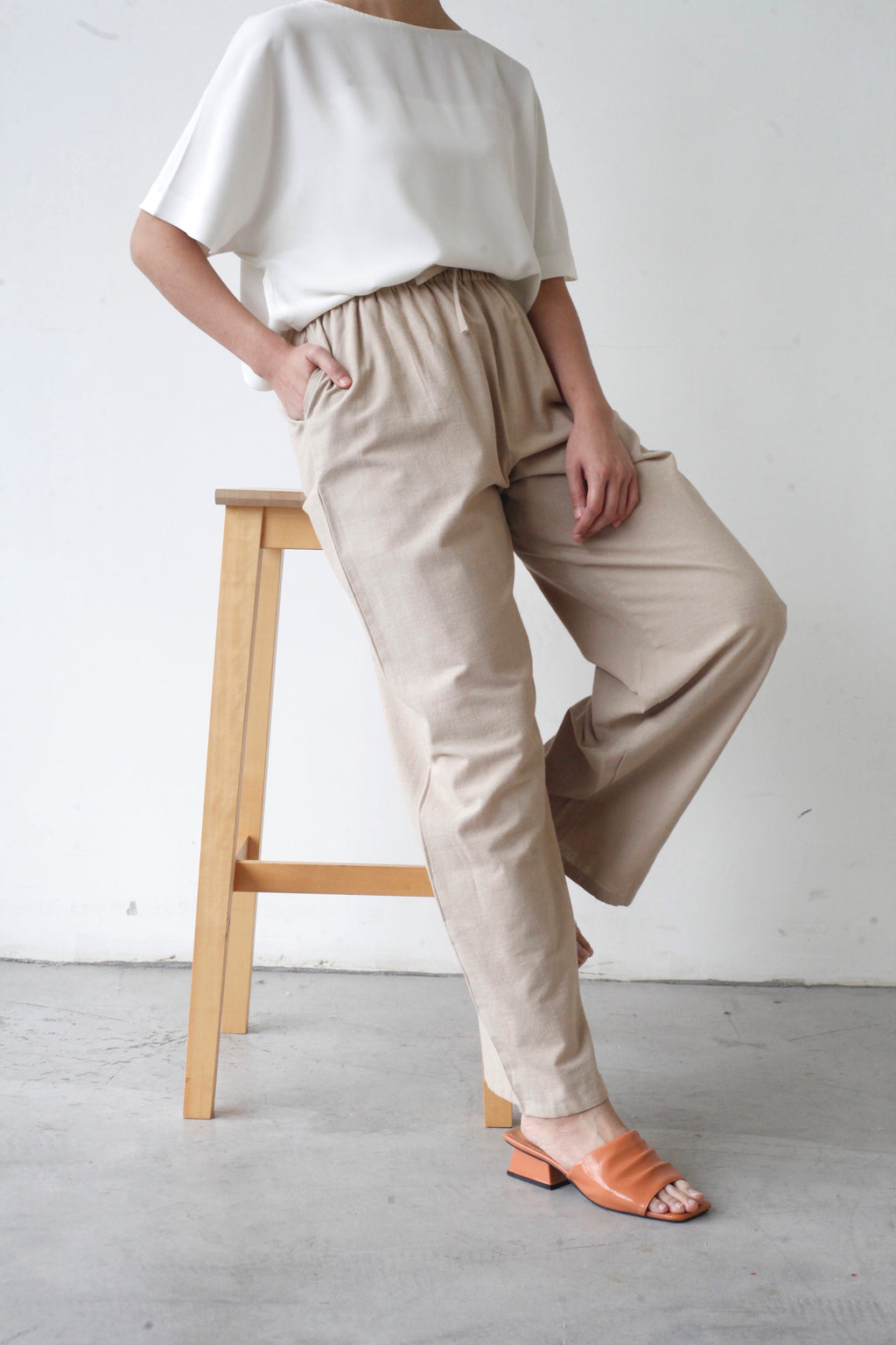 Wide Legged Cotton Pants Khaki