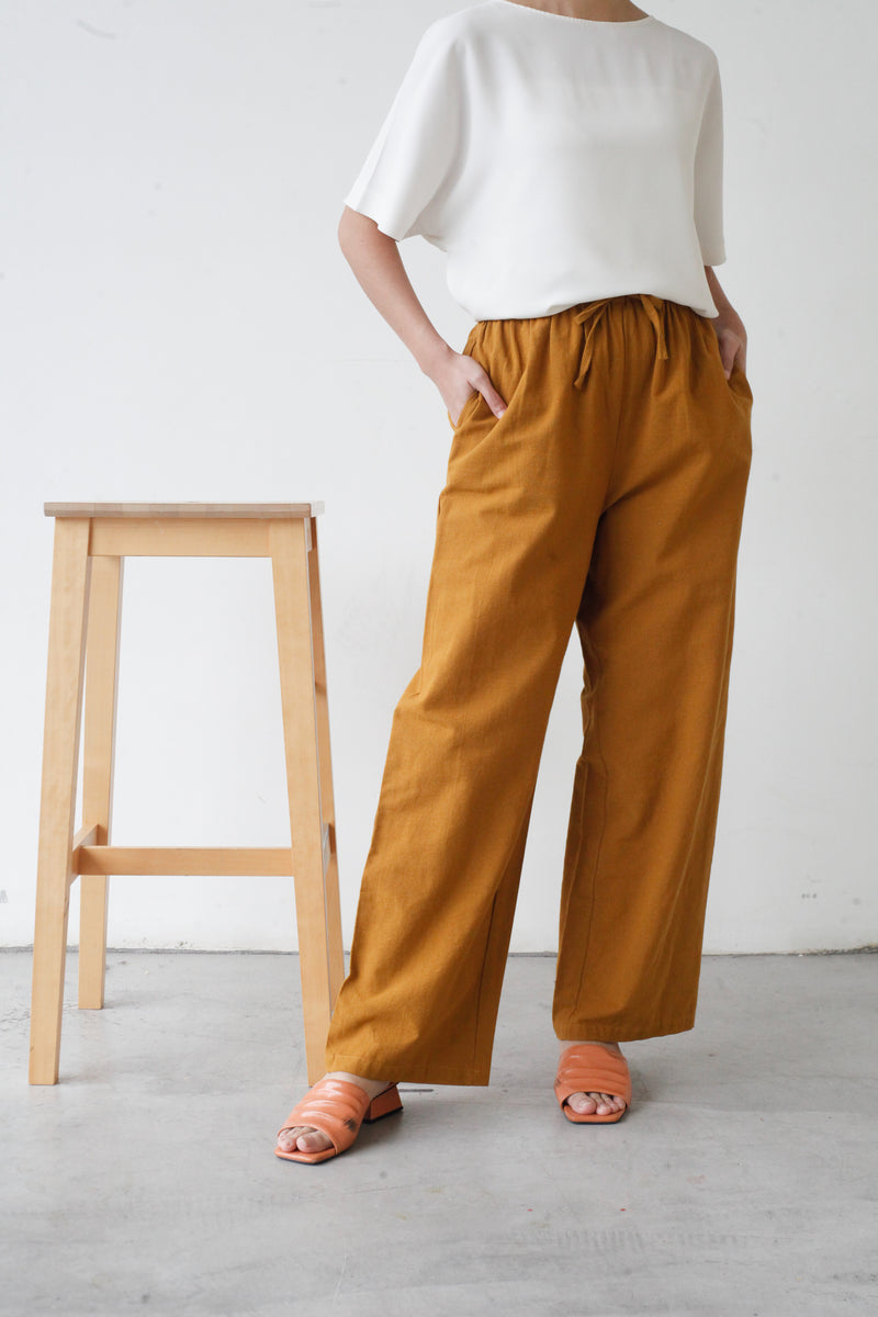 Wide Legged Cotton Pants Mustard
