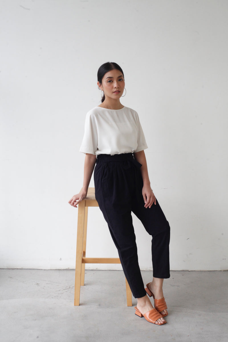 Tapered Cotton Pants Black