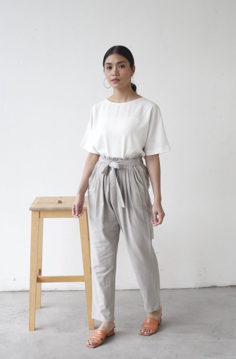 Tapered Cotton Pants Light Grey