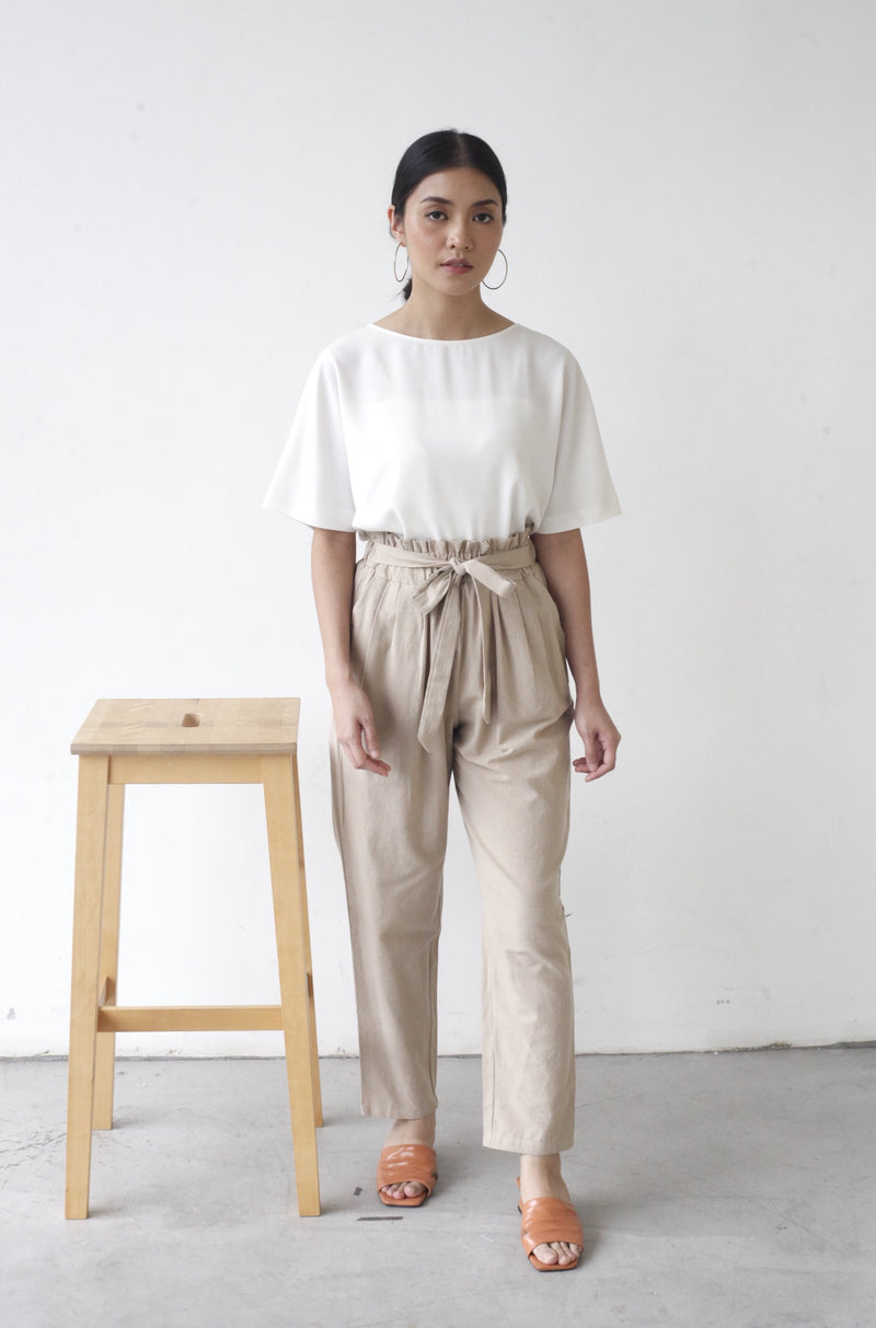 Tapered Cotton Pants Khaki