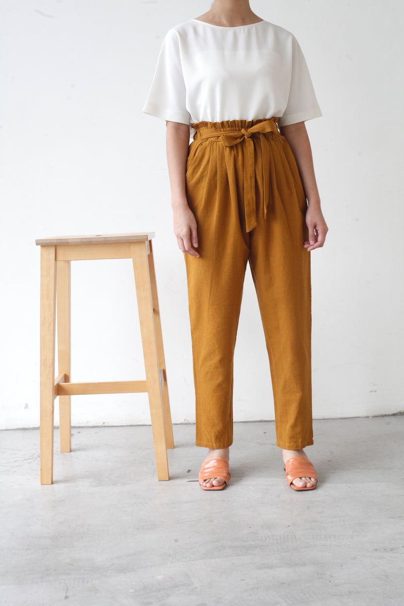 Tapered Cotton Pants Mustard