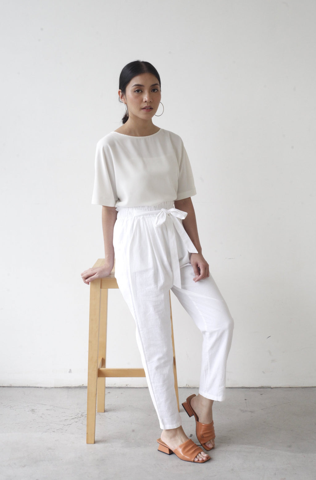 Tapered Cotton Pants White