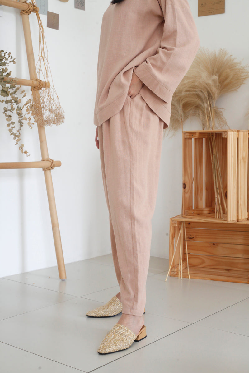 Zoe Tapered Cotton Pants Nude Pink
