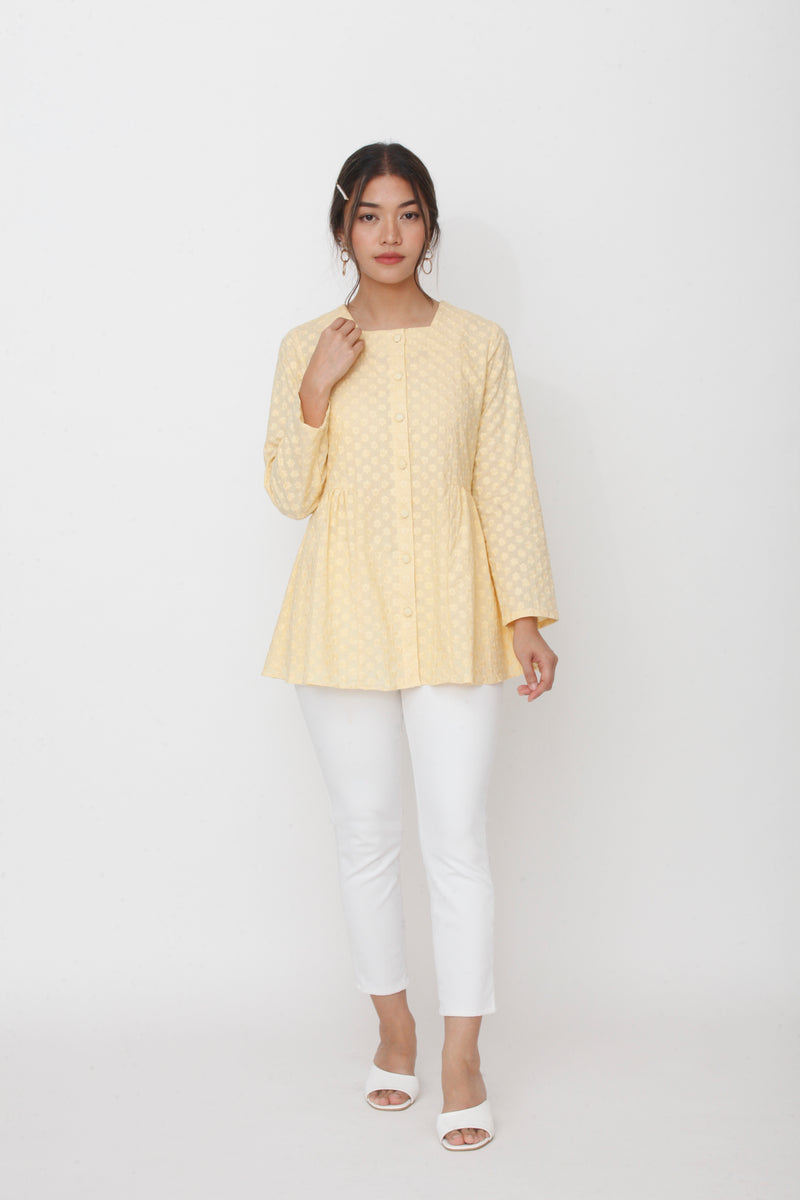 Dahlia Embroidered Top Yellow