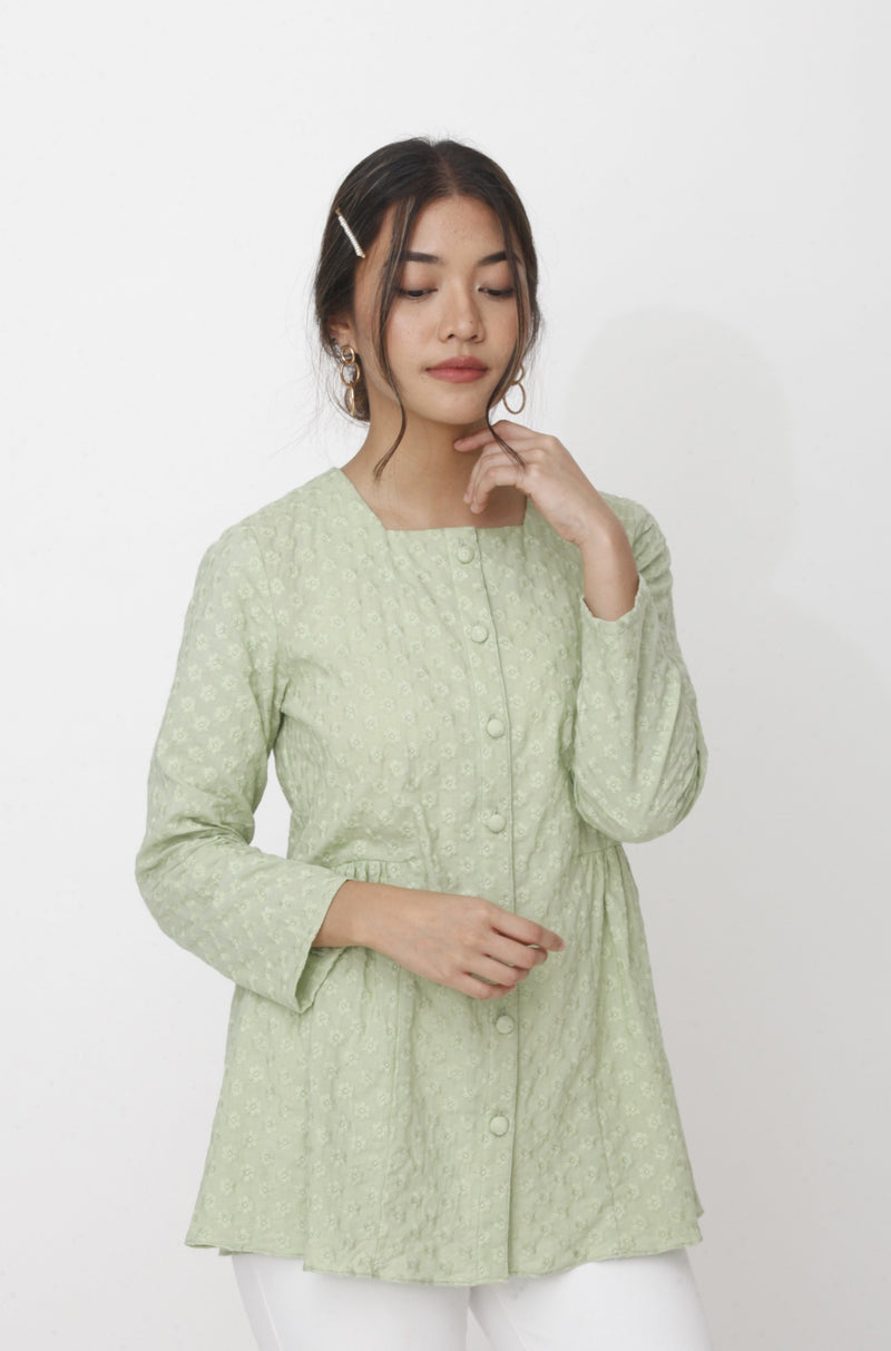 Dahlia Embroidered Top Green