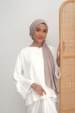 Amelie Button Kurung White