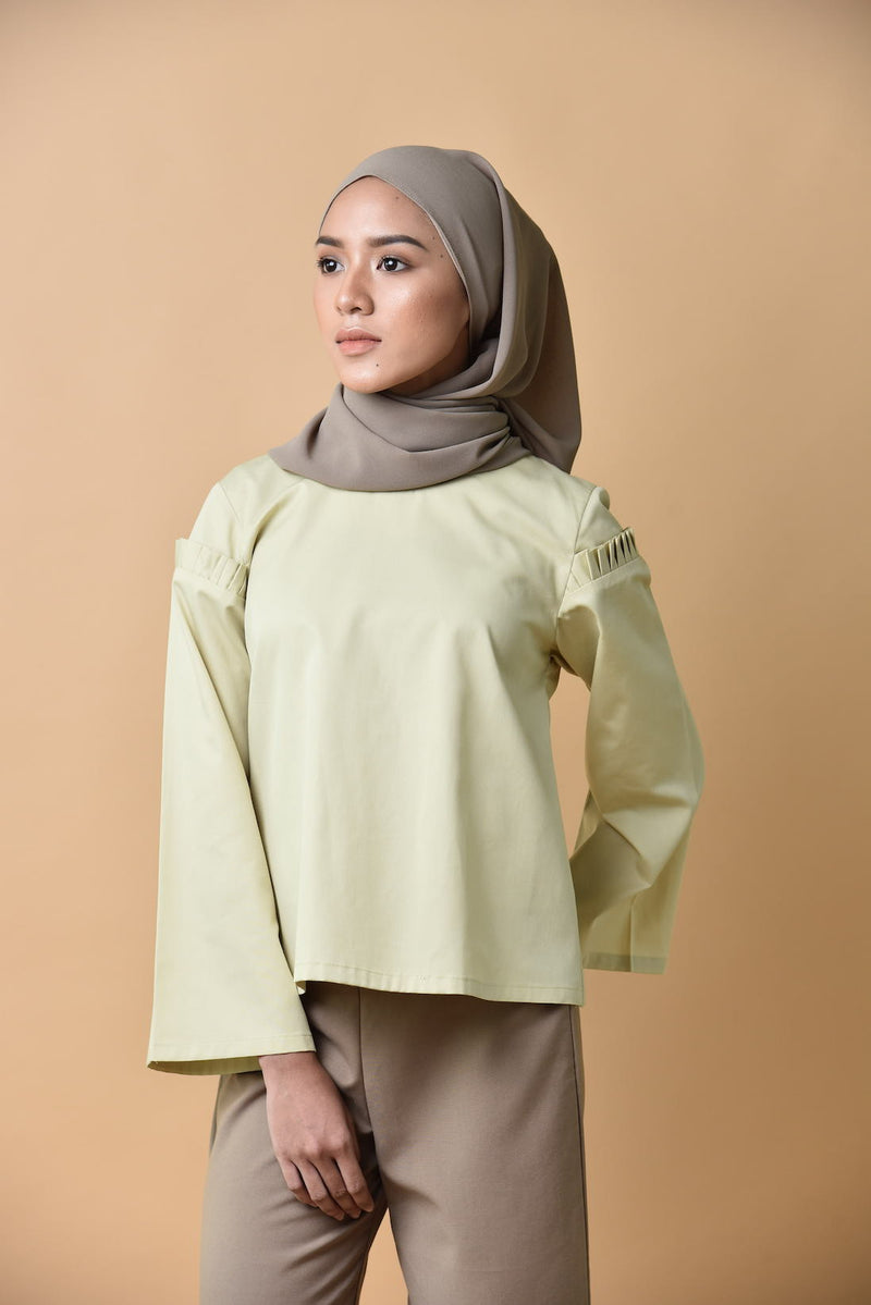 Iris Pleated Sleeved Top Lime Green