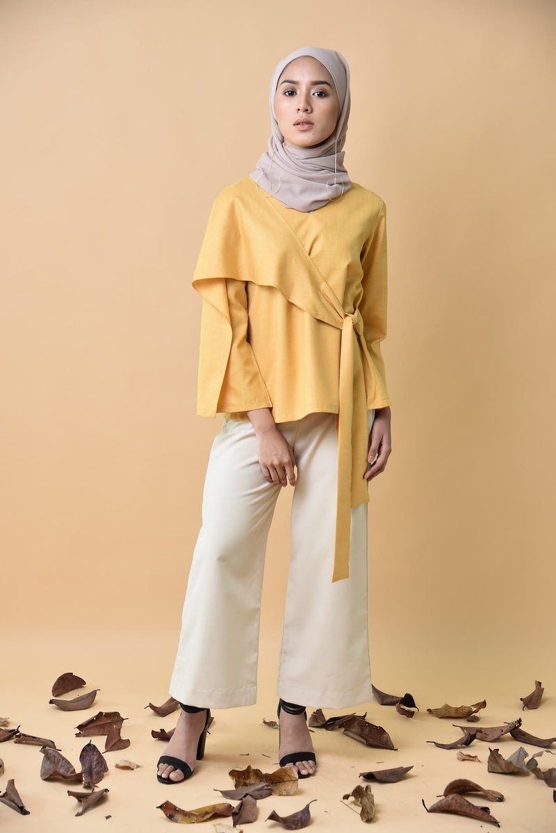 Nayla Wrapped Top Mustard