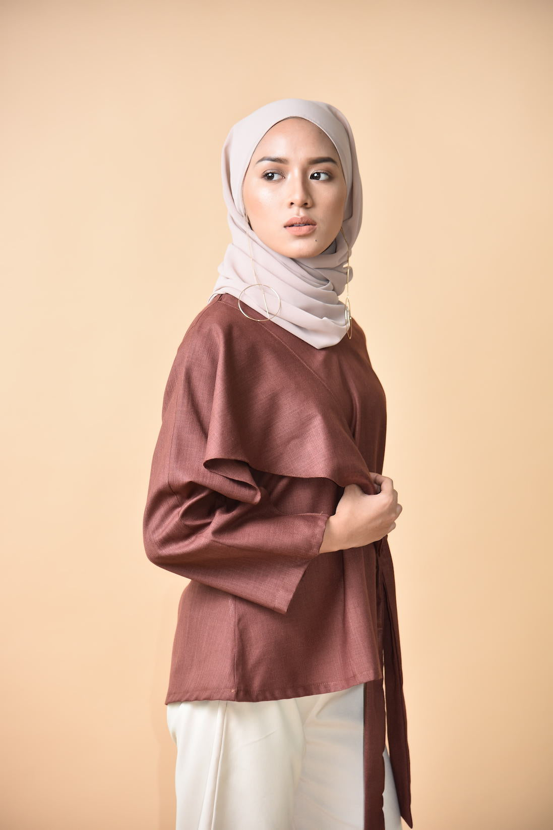Nayla Wrapped Top Burgundy