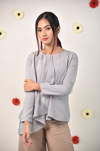Kayla Side Layer Top Grey