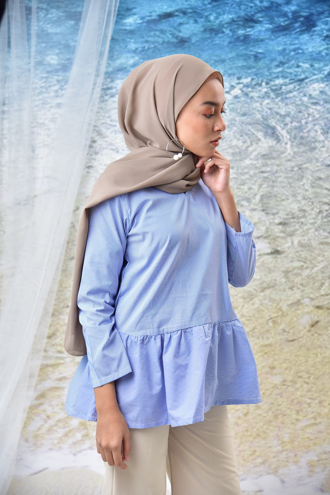 Striped Frill Top Small Blue