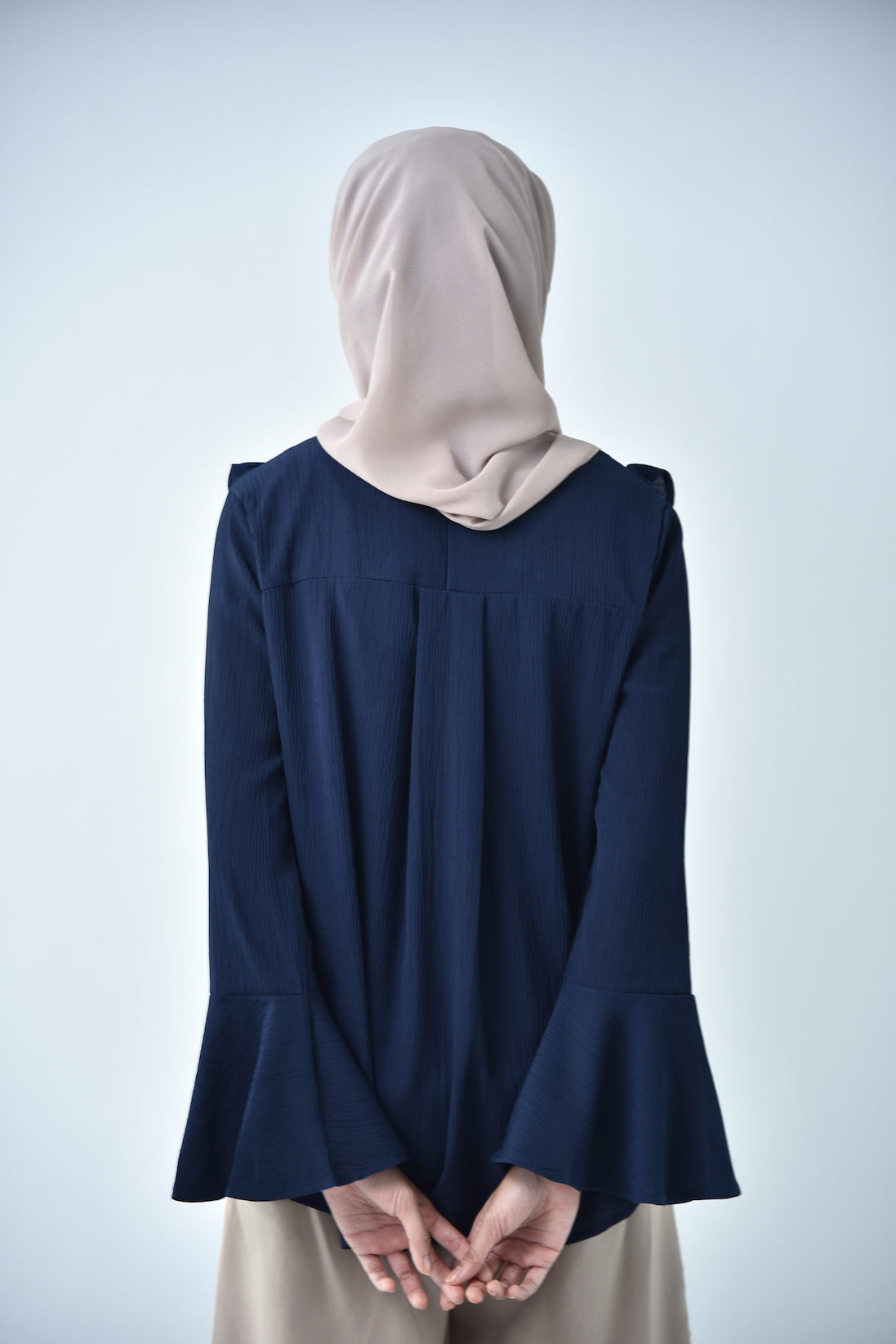 Double Ruffle Top Navy Blue