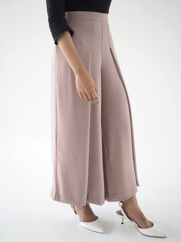 Front Pleat Culottes Brown