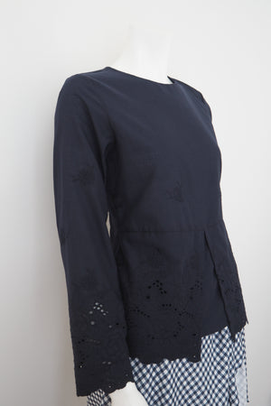 Indah Embroidered Peplum Top Navy Blue