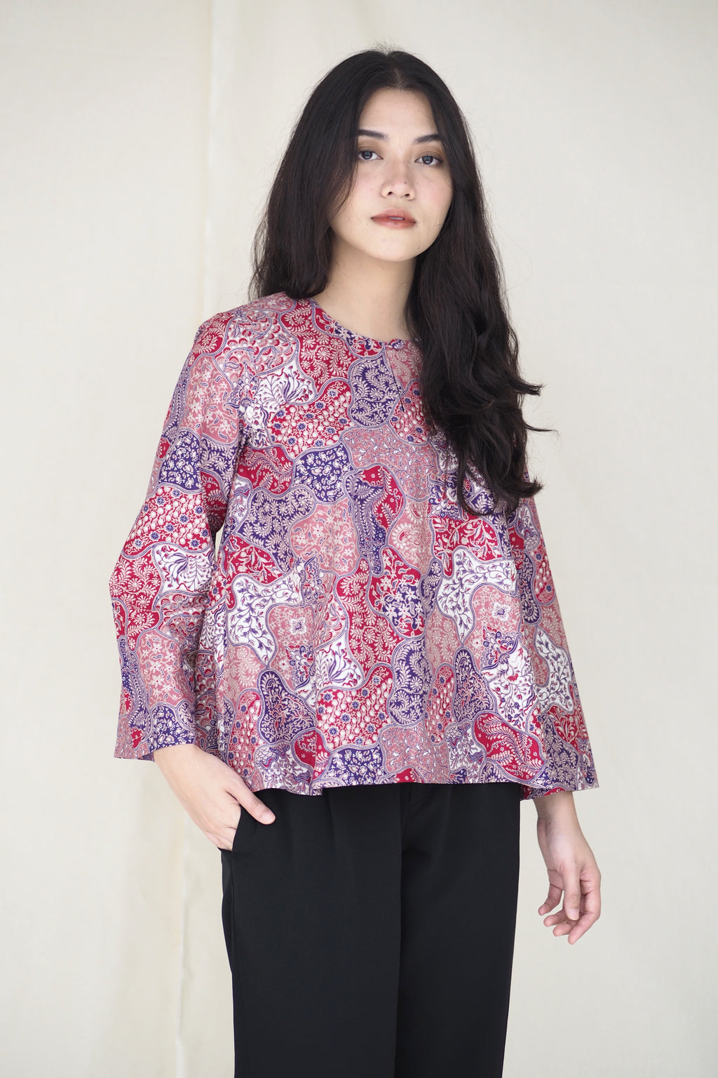 Suri Batik Top Abstract Purple