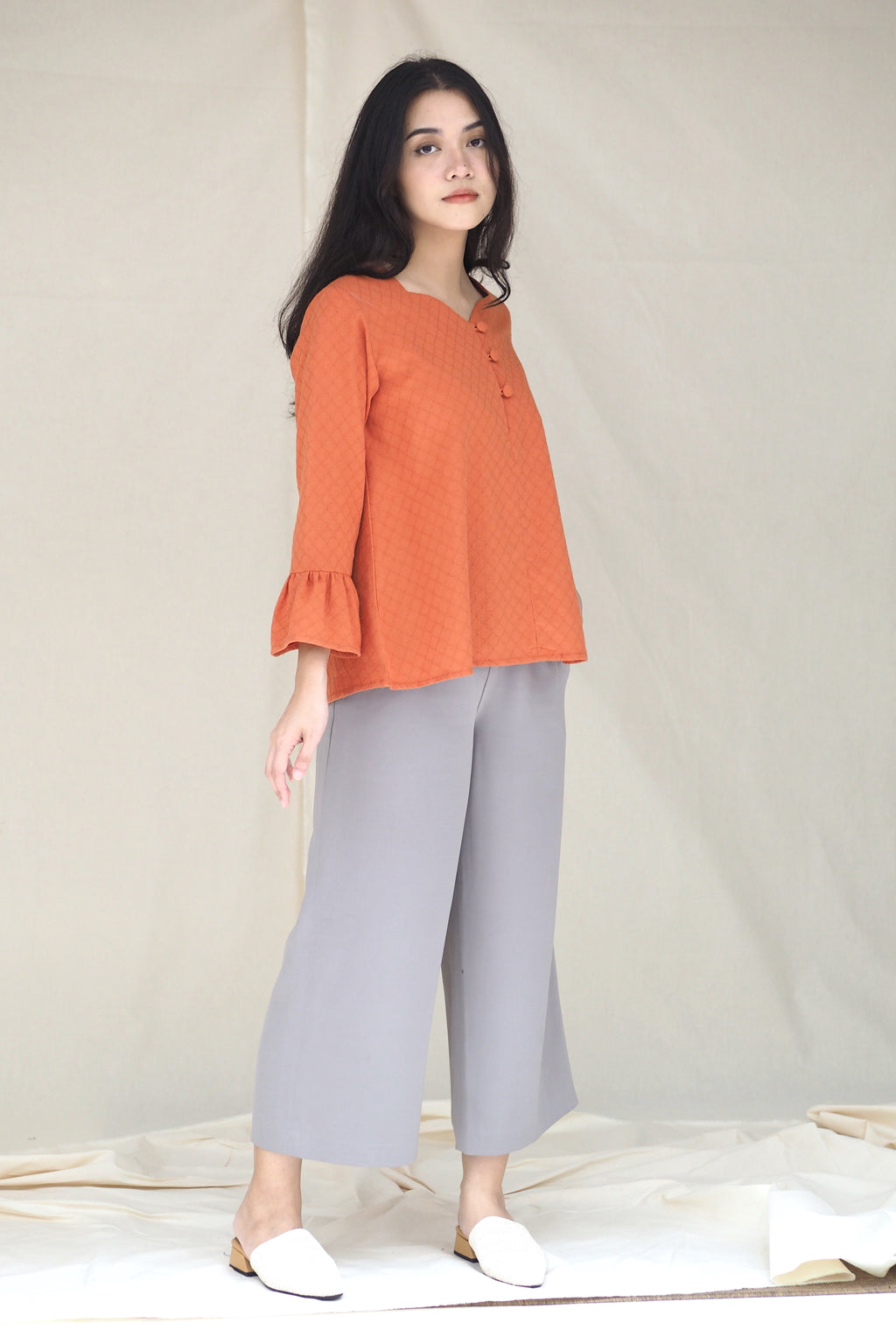Emily Button Top Orange