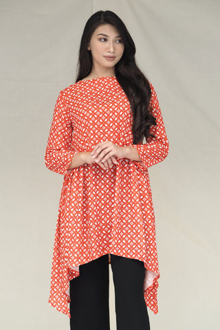 Dalila Plain Ribbon Sleeve Kurung Peach