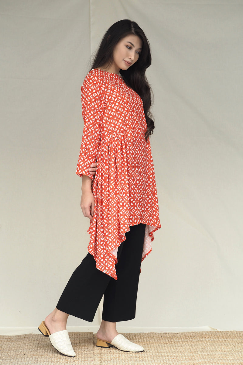 Freya Midi Printed Top Coral Red