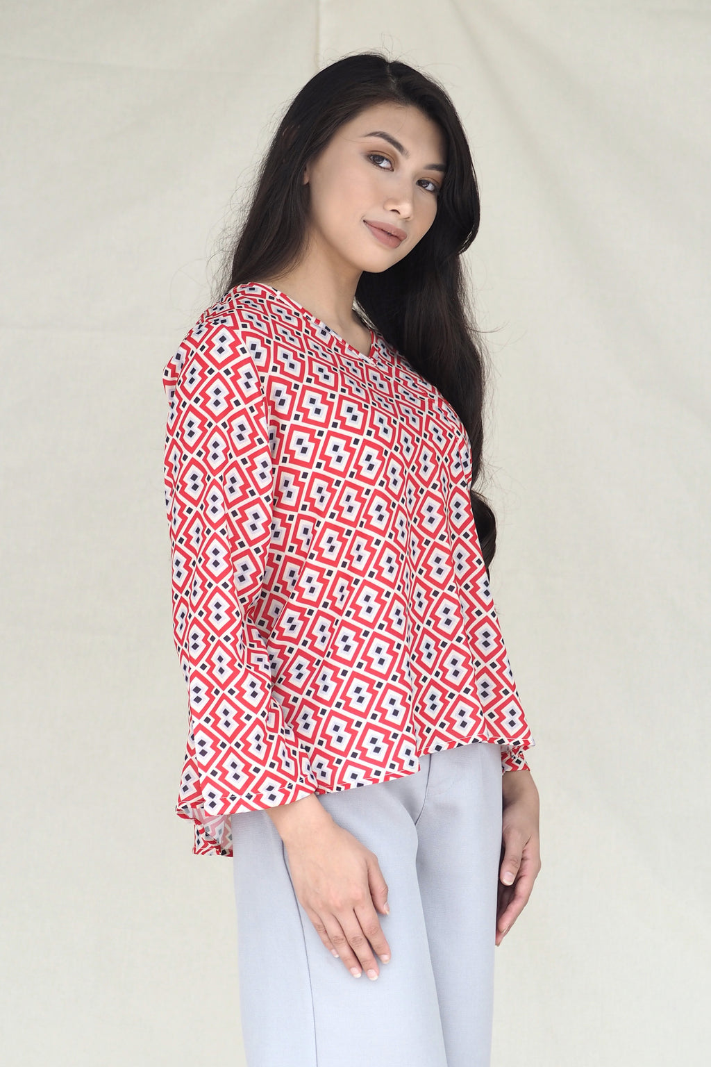 Marcella Printed Top Geo Red