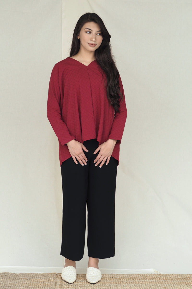 Mawar Plain Top Maroon