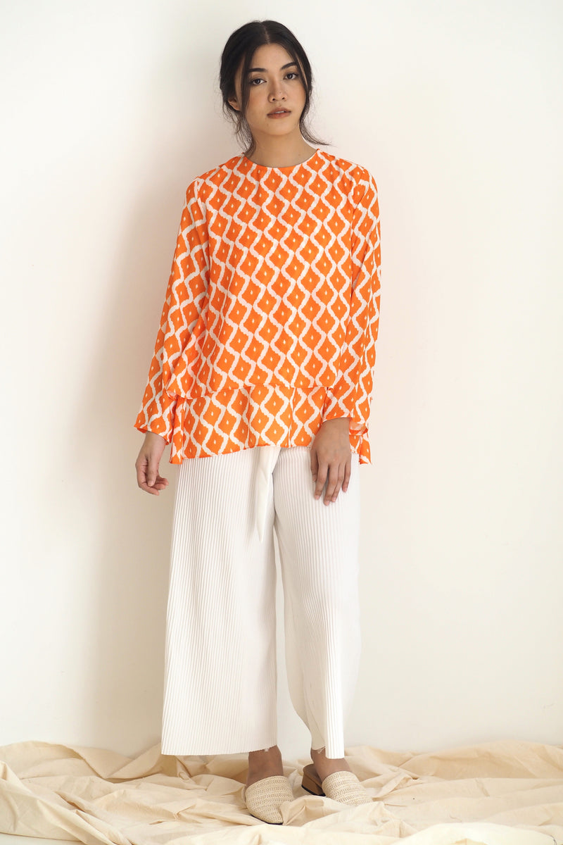 Alana Printed Top Ikat Orange
