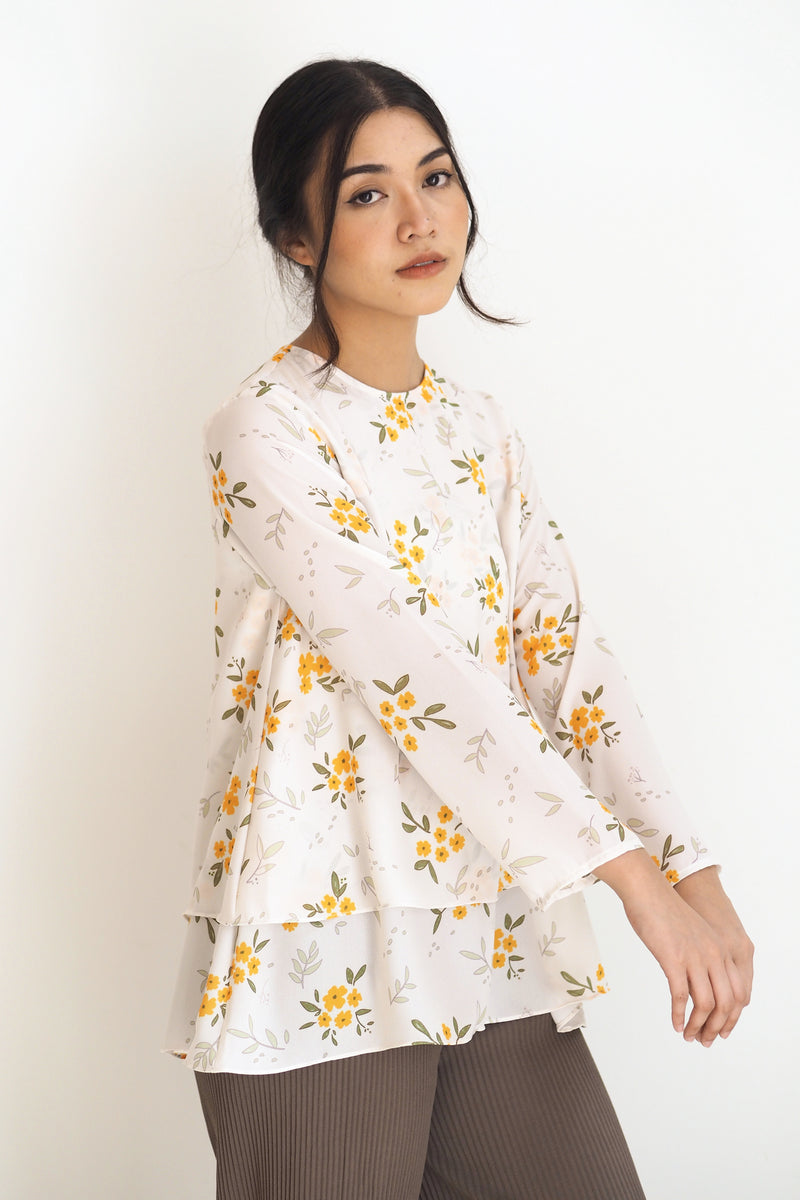 Alana Printed Top Floral Yellow