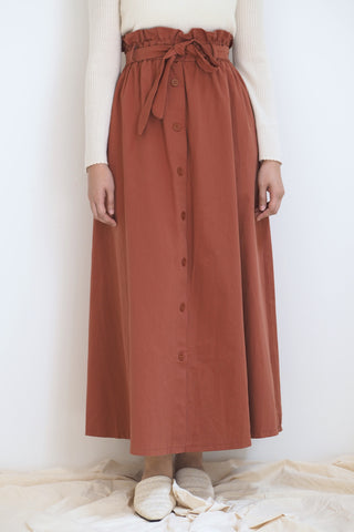 Plain Button Skirt Brown