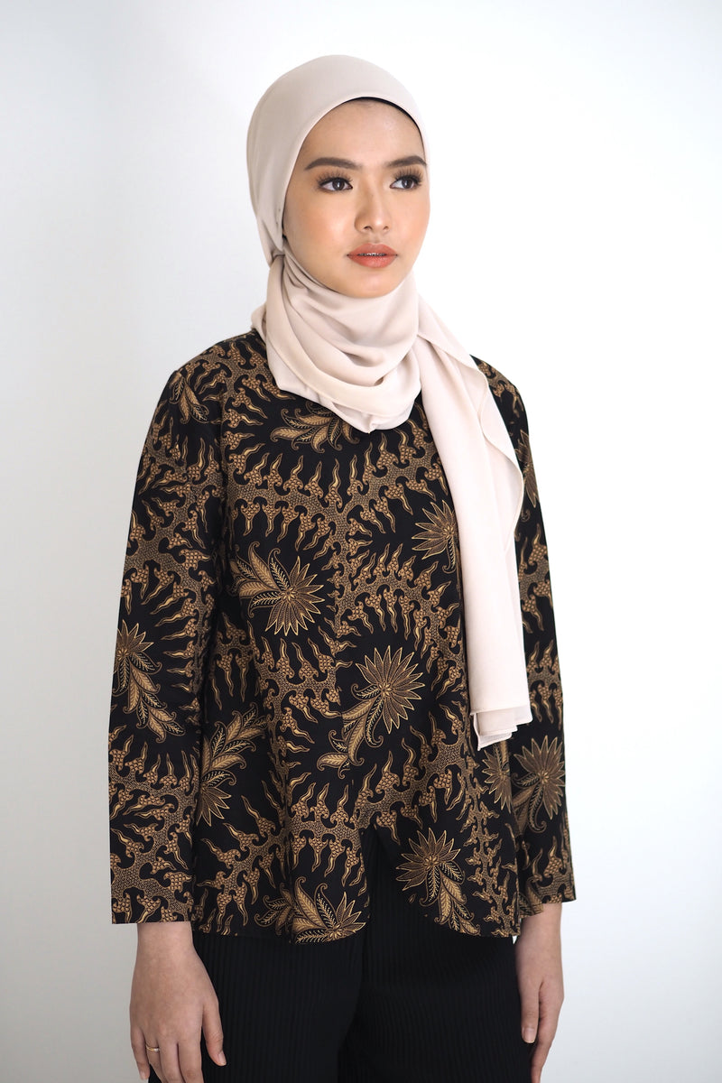 Mia Batik Top Leaf Brown