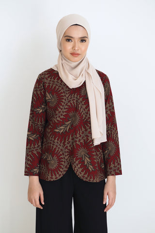 Mia Batik Top Floral Orange