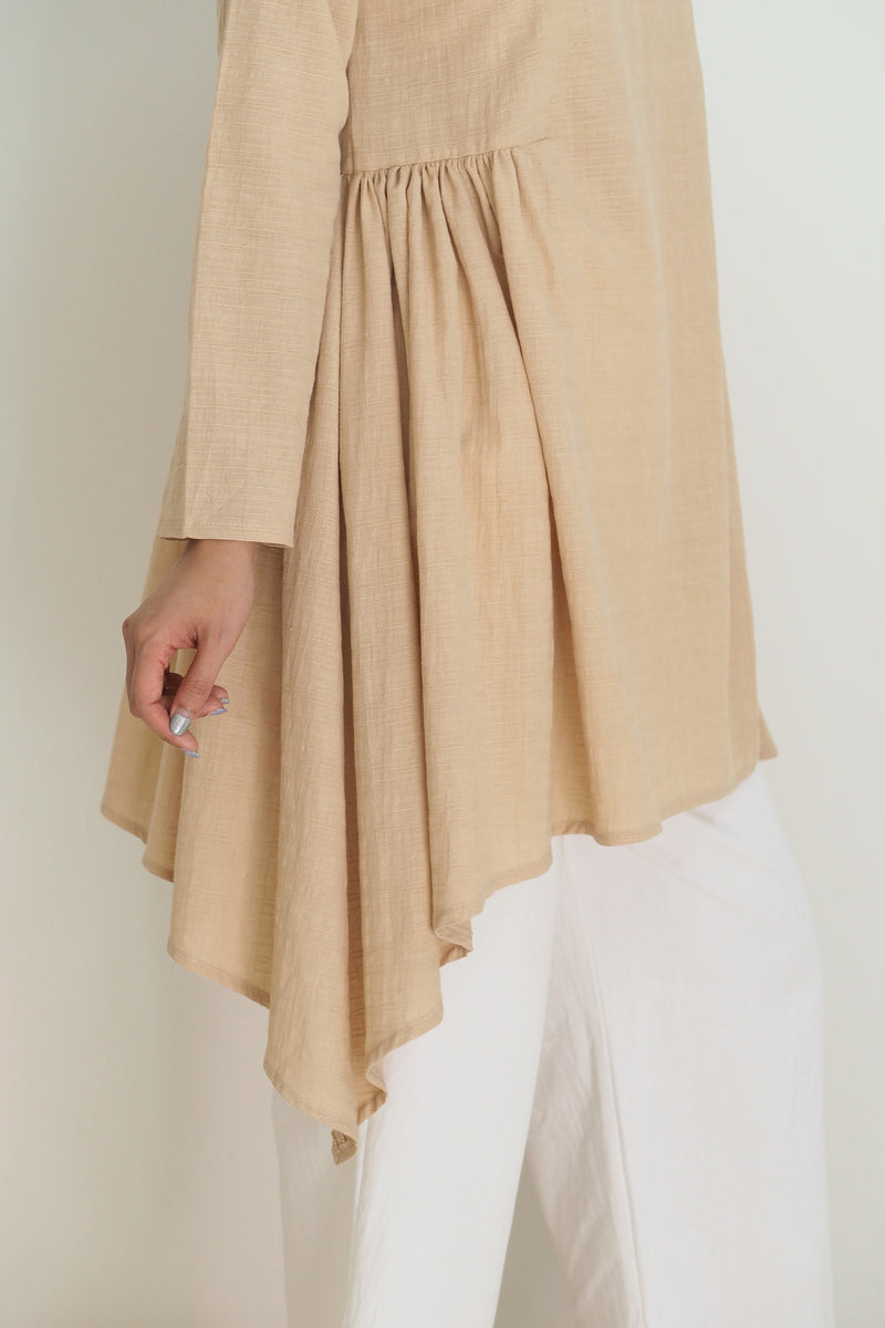 Freya Plain Midi Top Tan